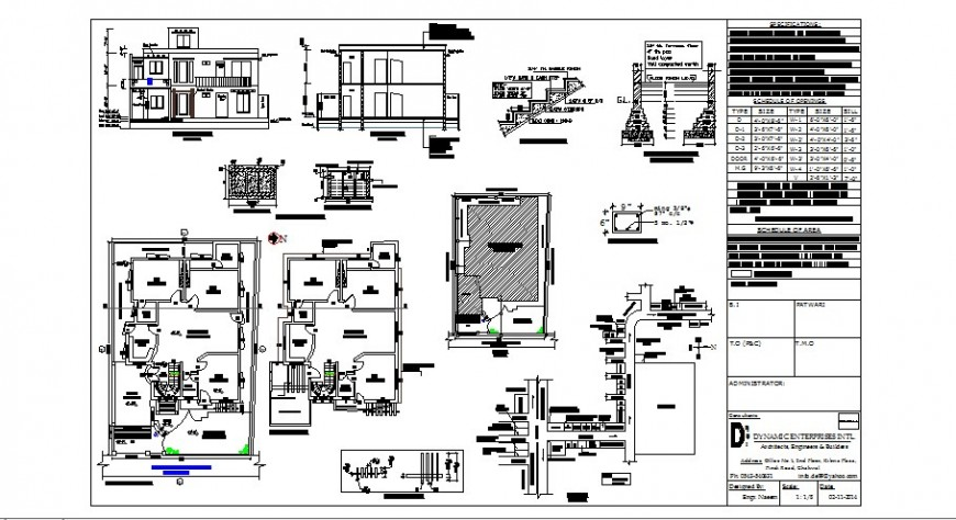 One family house elevation, section, floor plan and constructive structure details dwg file