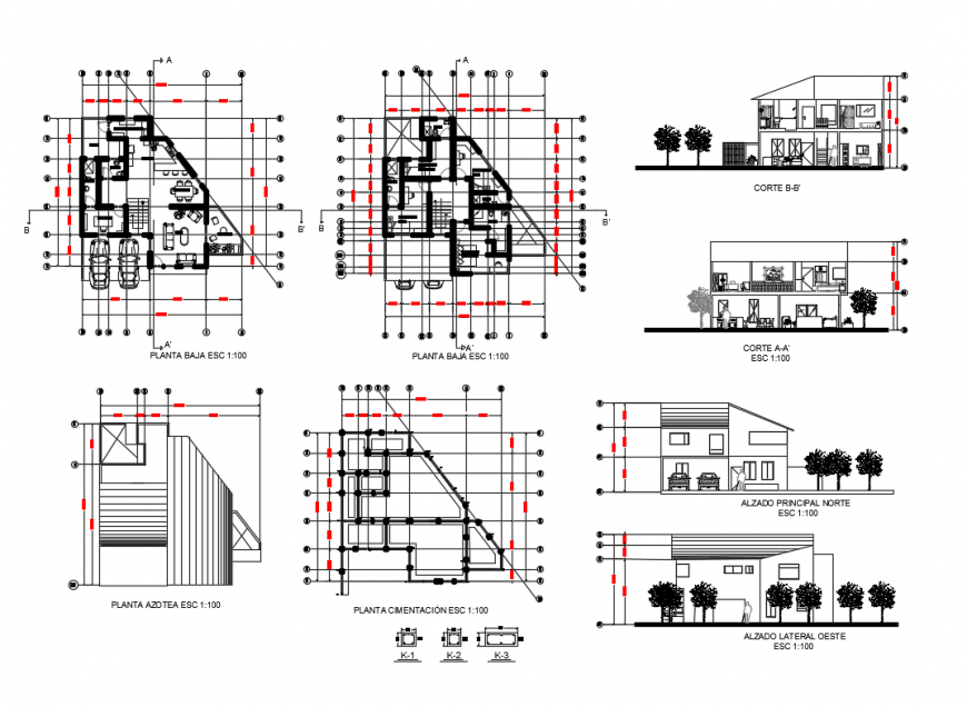 One family house elevation, section, plan, cover plan and auto-cad details dwg file