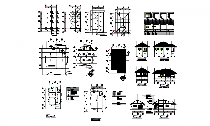 One family house elevation, section, plan and construction details dwg file