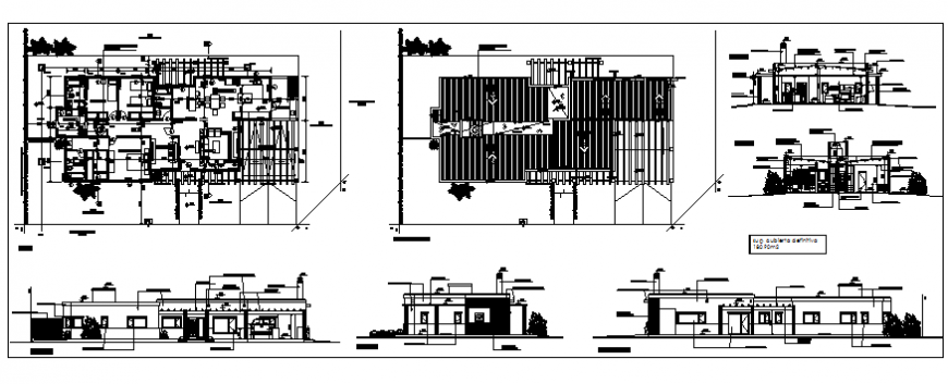 One family house elevation, section, plan and structure details dwg file