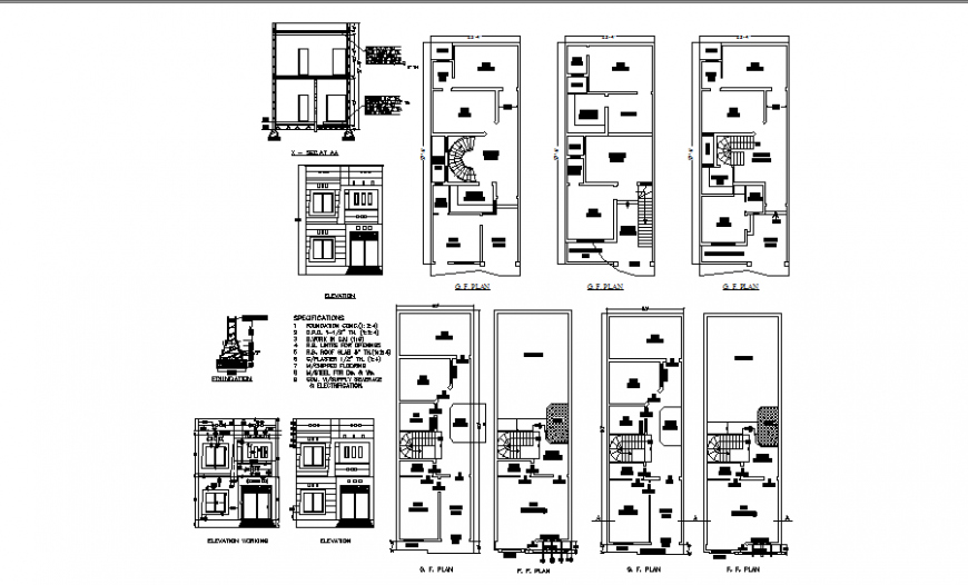 One family house elevation, section and first and ground floor plan details dwg file