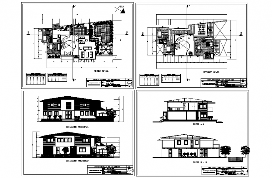 One family house elevation, section with first and second floor plan details dwg file