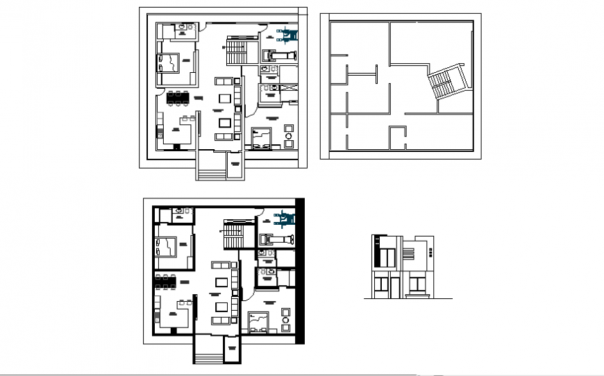 One family house elevation and floor plan layout details dwg file