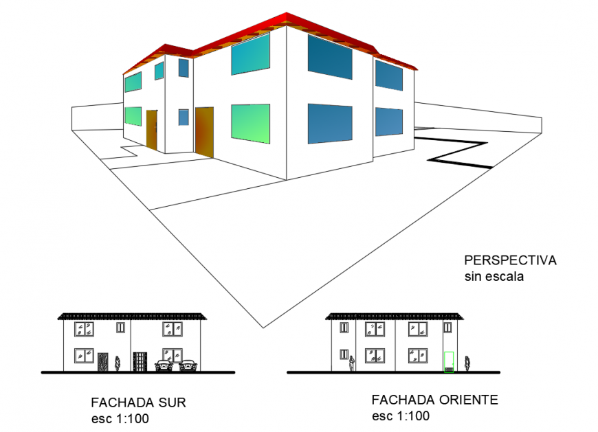 One family house facade elevation and section details with isometric elevation details dwg file