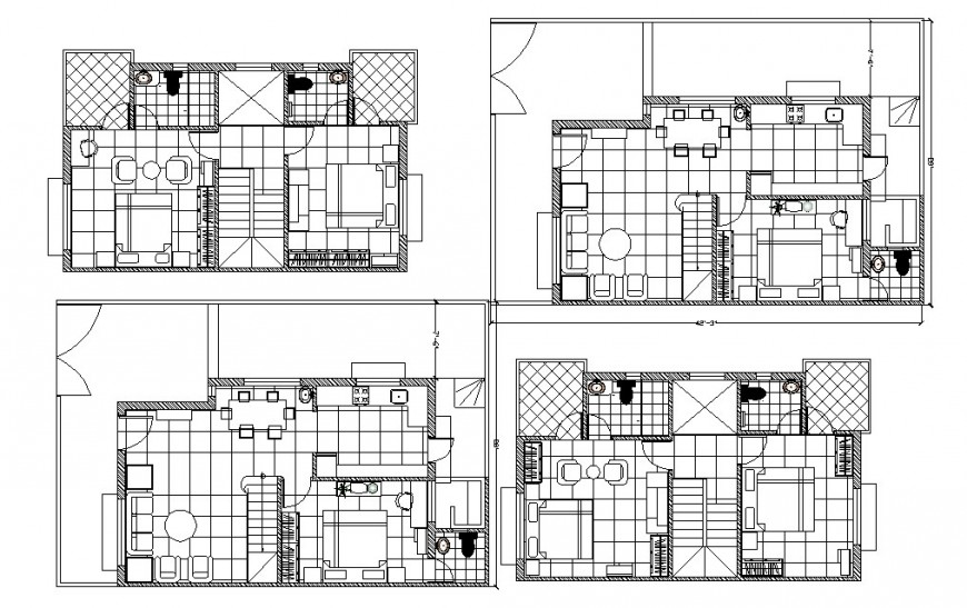One family house floor plan drawing details with furniture layout cad drawing details dwg file