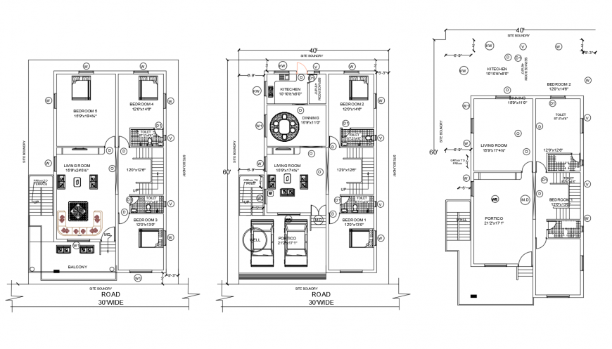 One family house floor plan with site cad drawing details dwg file