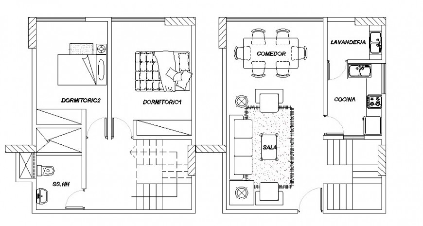 One family house floor plans cad drawing details dwg file