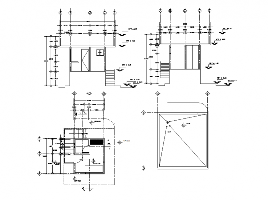 One family house framing plan and cut sectional details dwg file