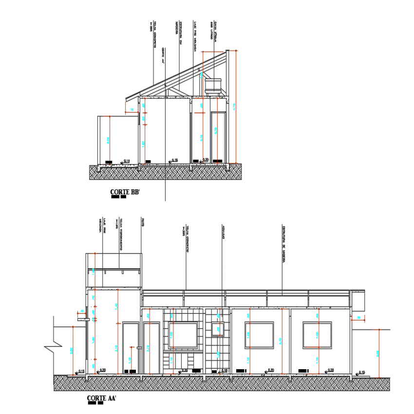 One family house front and side sectional view dwg file