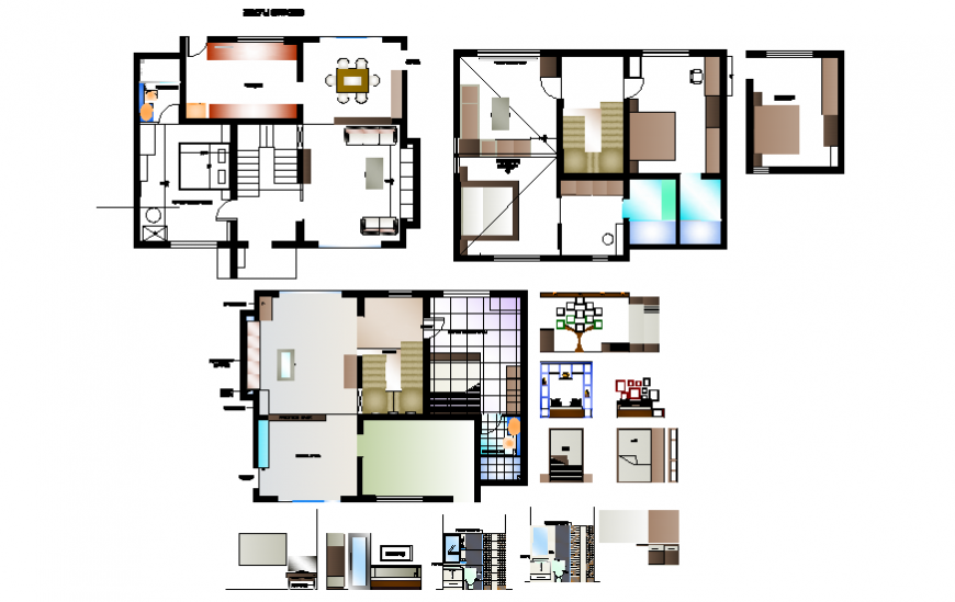One family house furniture layout plan details dwg file