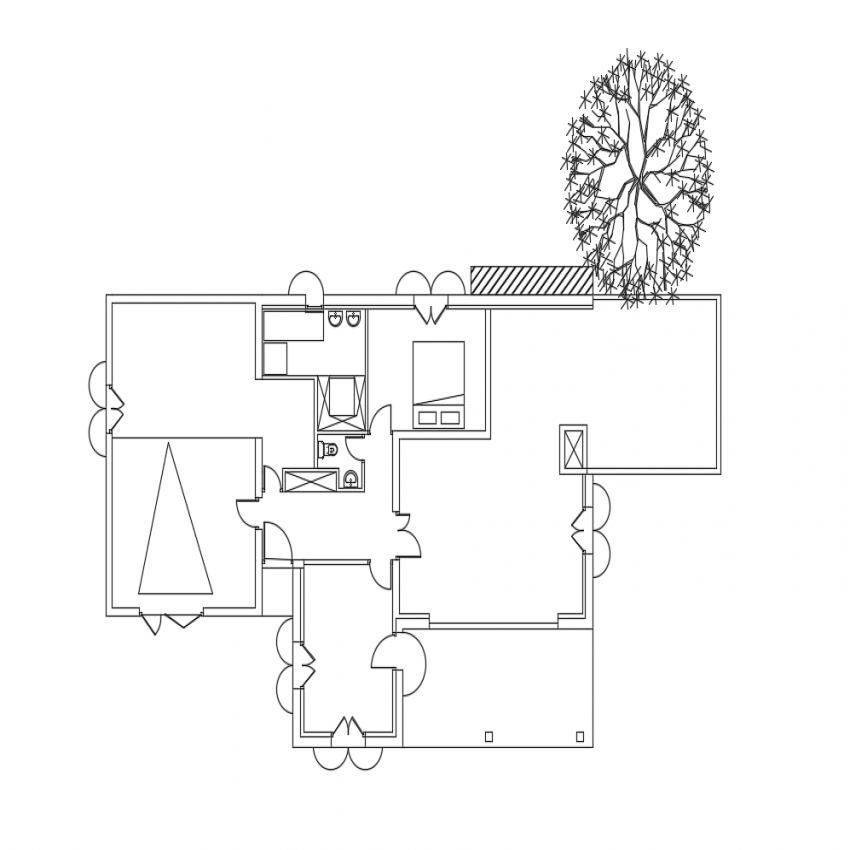 One family house general layout plan dwg file