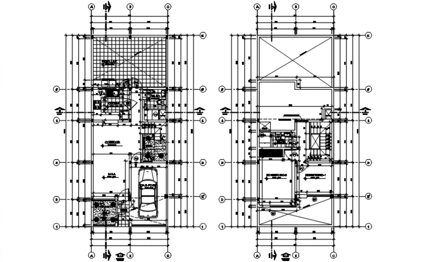 One family house ground and first floor plan with structure drawing details dwg file