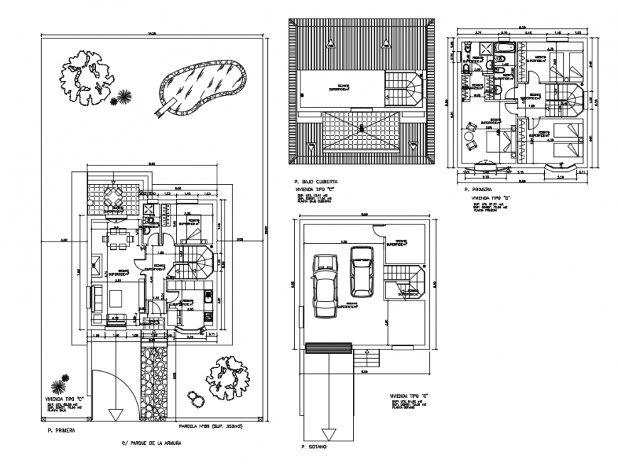One family house ground floor, first floor and terrace layout plan details dwg file