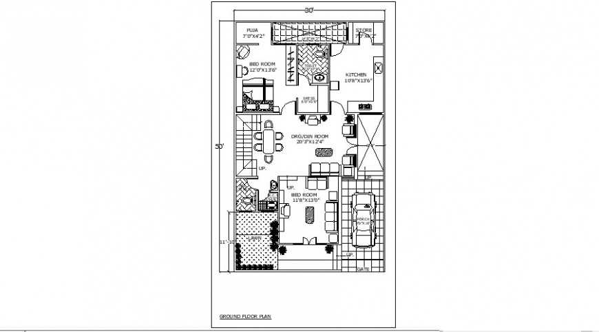 One family house ground floor plan distribution details dwg file