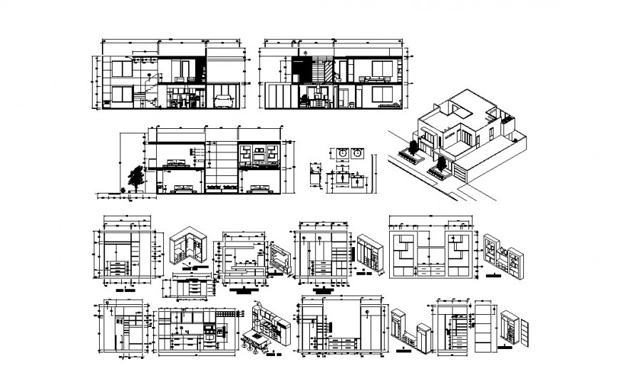One family house isometric elevation, all sided section and furniture drawing details dwg file