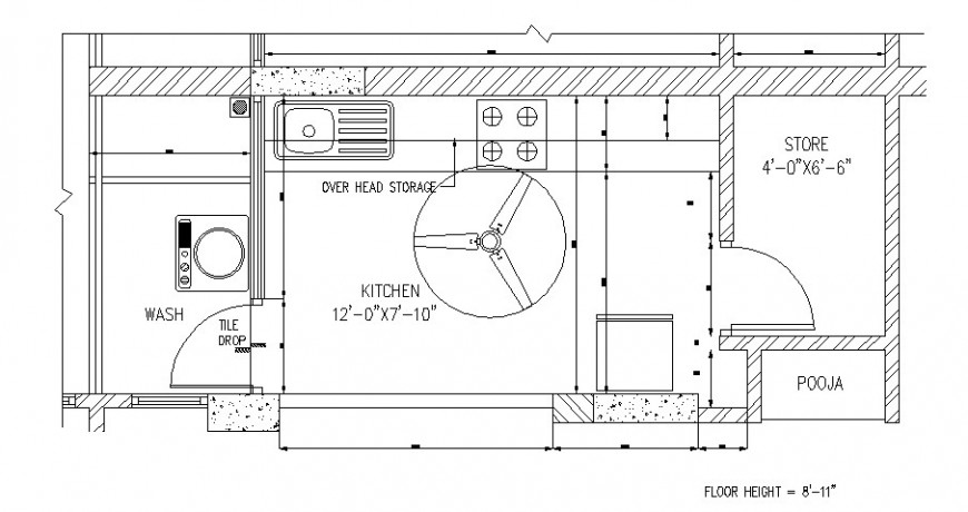 One family house kitchen architecture layout plan details dwg file