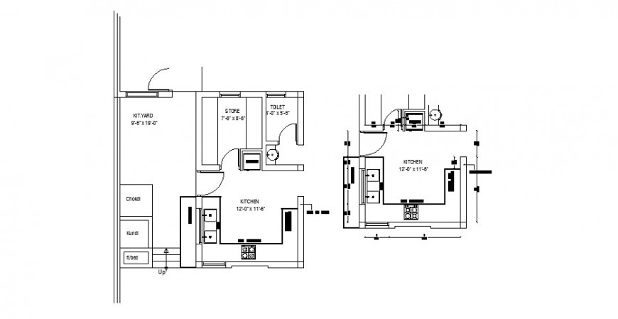 One family house kitchen layout plan and furniture layout cad drawing details dwg file