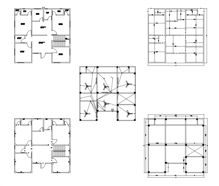 One family house layout plan, ceiling plan, cover plan and auto-cad drawing details dwg file