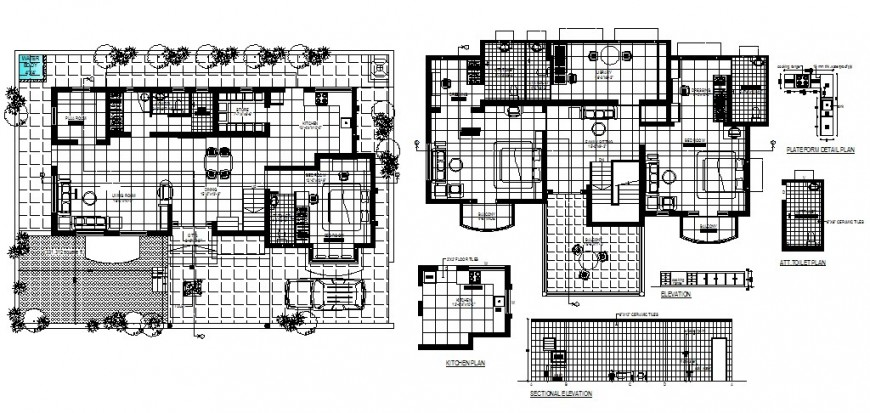 One family house layout plan and auto-cad details dwg file