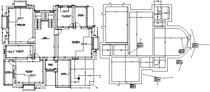 One family house layout plan and framing plan 2d drawing details dwg file