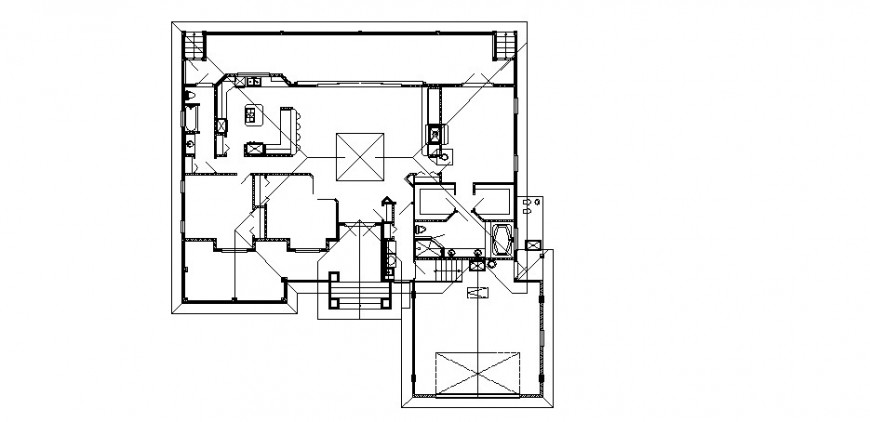 One family house layout plan auto-cad drawing details dwg file