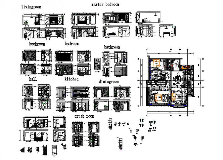One family house layout plan details with bedroom, hall, kitchen etc interior details dwg file