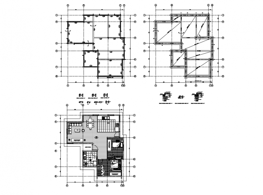One family house layout plan details with framing plan dwg file
