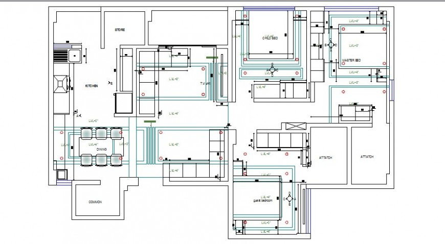 One family house layout plan details with furniture details dwg file