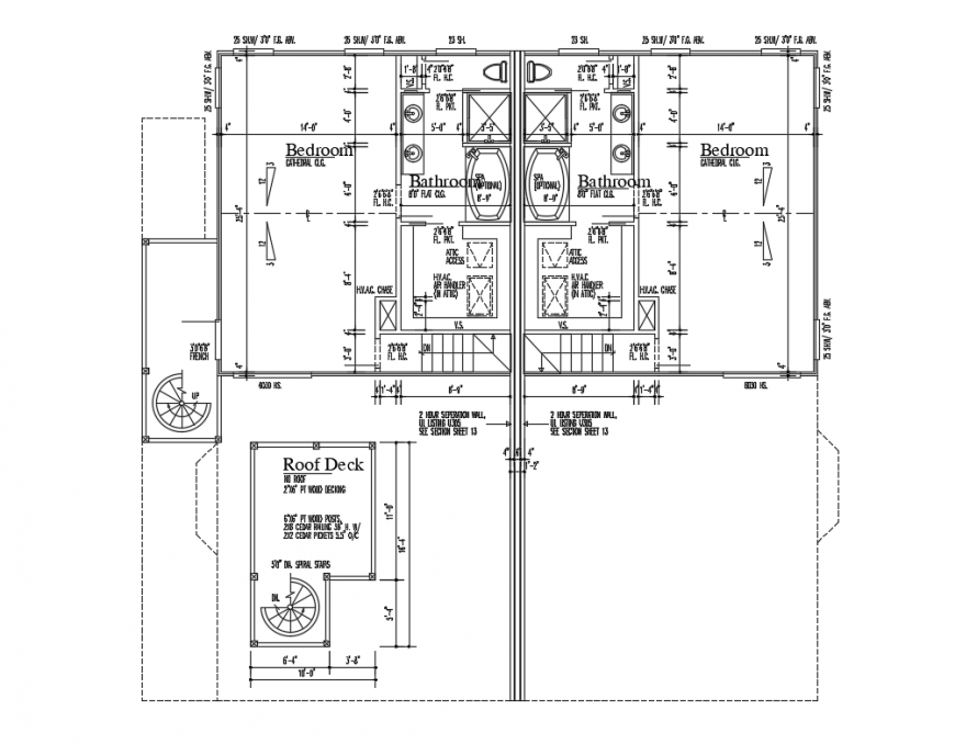 One family house layout plan details with roof deck dwg file