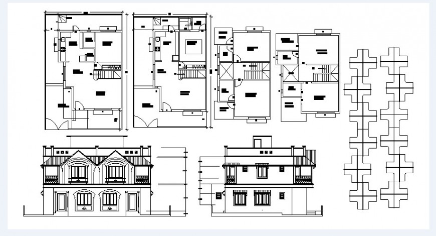 One family house main and back elevation and floor plan cad drawing details dwg file