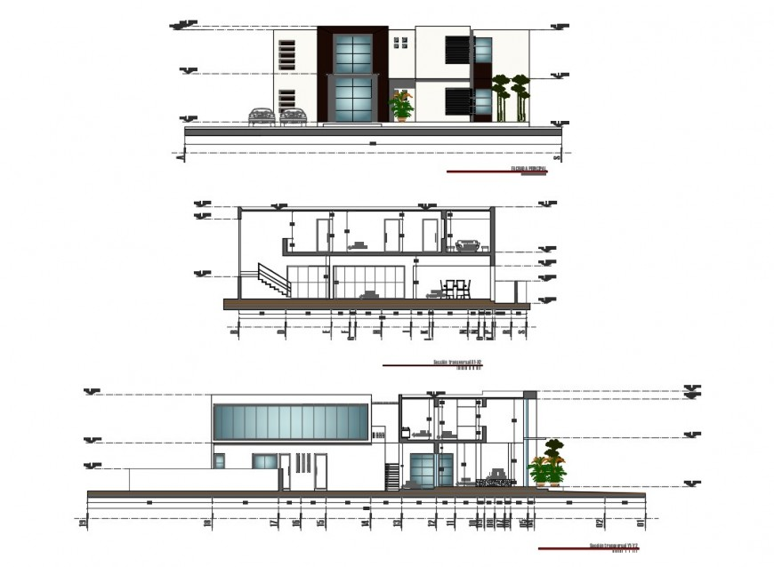 One family house main and back elevation and main section details dwg file