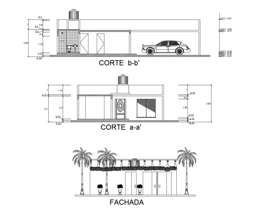 One family house main elevation and front and back section drawing details dwg file