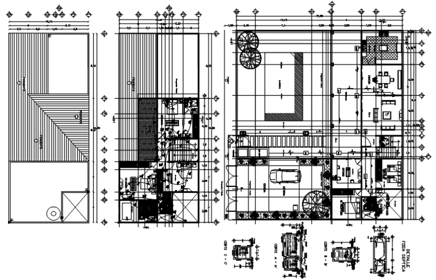 One family house plan, electrical plan and structure details dwg file