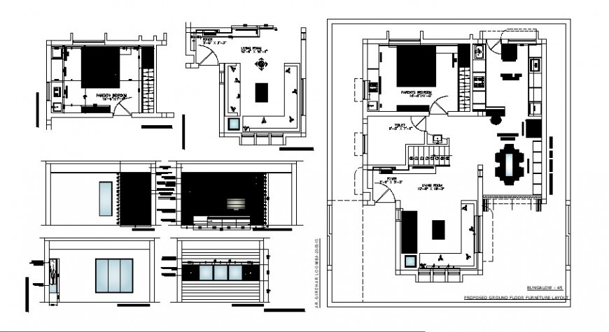 One family house plan with furniture and bedroom details dwg file
