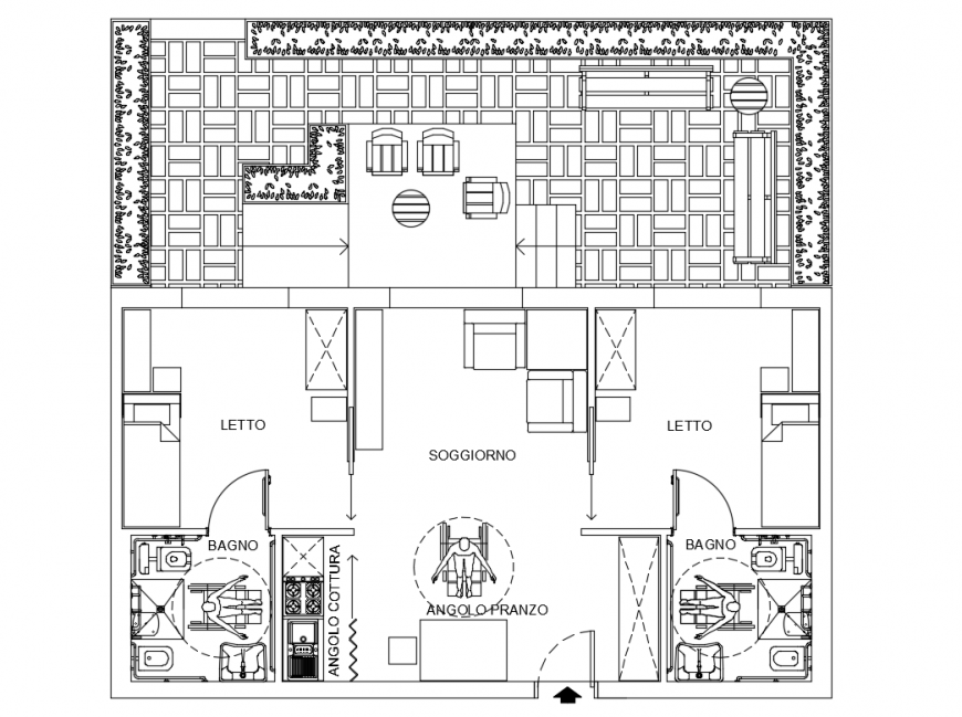 One family house residential type module cad drawing details dwg file