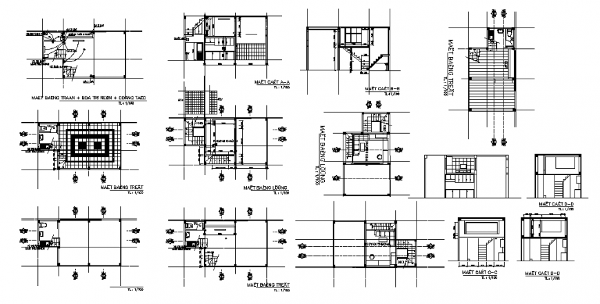 One family house section, floor plan, sanitary and electrical installation cad drawing details dwg file