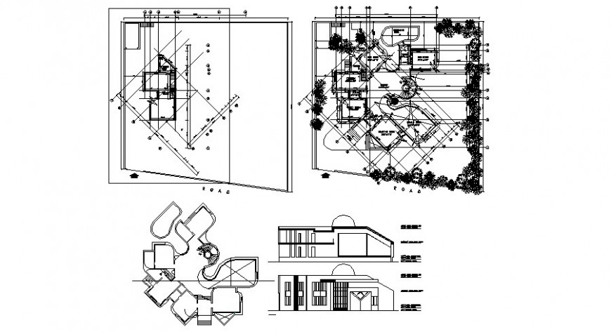 One family house section, ground floor plan and auto-ad drawing details dwg file