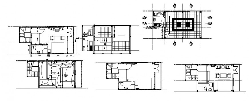 One family house section, layout plan, electric installation and cad drawing details dwg file