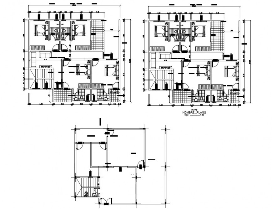 One family house section and floor plan cad drawing details dwg file