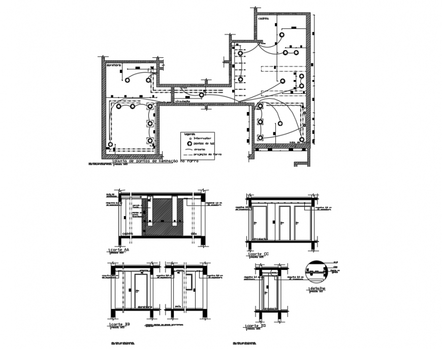 One family house sectional lining cad drawing details dwg file