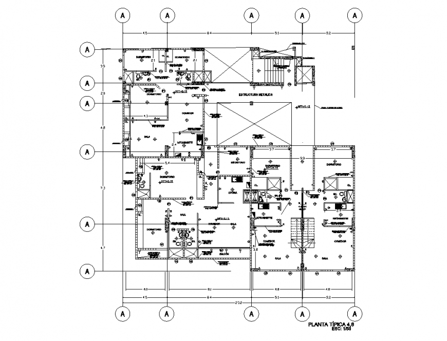 One family house typical plan structure cad drawing details dwg file