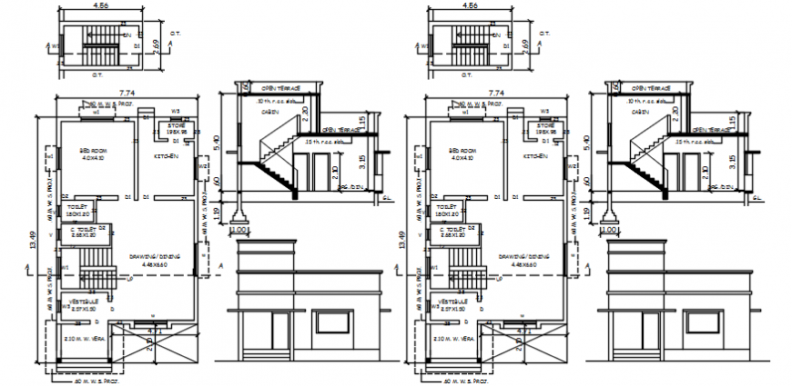 One family house unit elevation, section and floor plan details dwg file