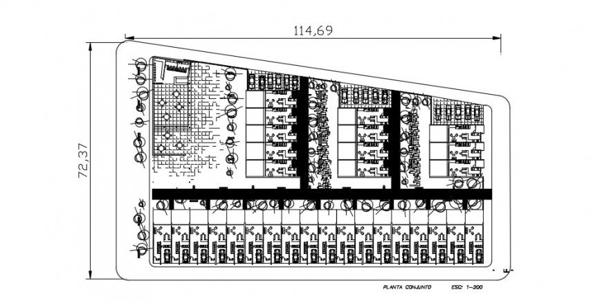 One family houses colony distribution plan with furniture drawing details dwg file