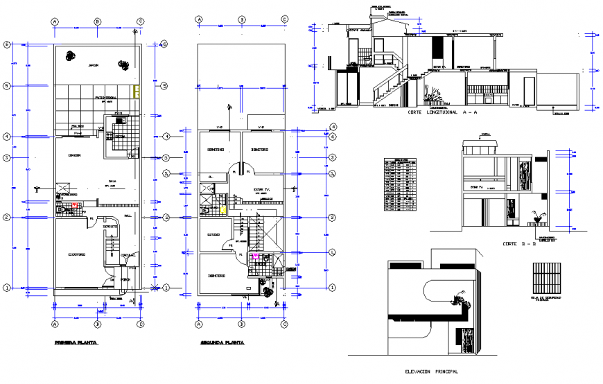 One family housing 2 storeys  with interior greenhouse detail autocad file