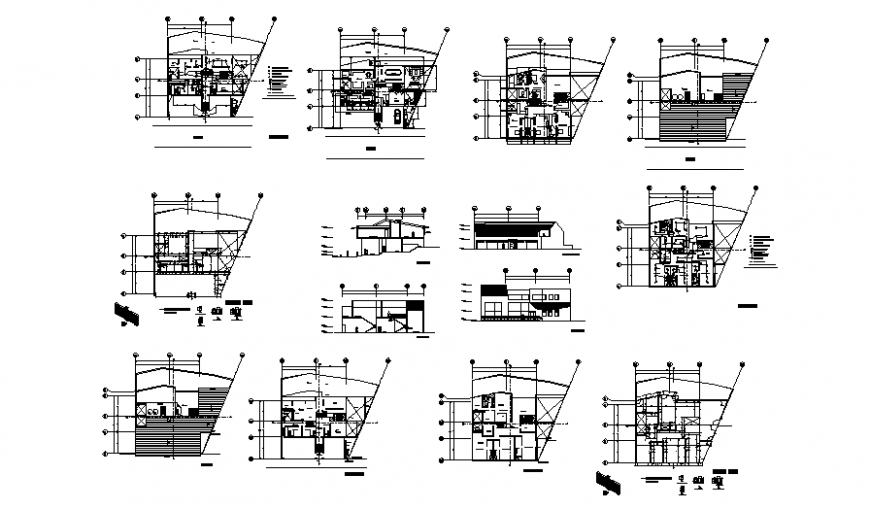One family housing elevation, section, floor plan and structure details dwg file