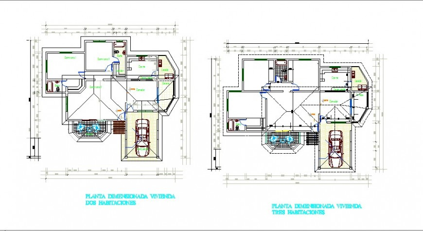 One family housing floor plan layout cad drawing details dwg file