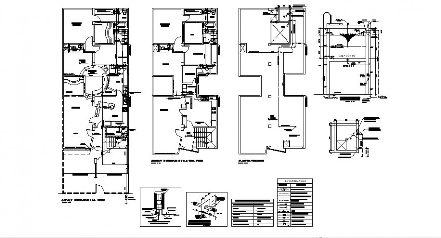 One family housing floors plan and sanitary installation cad drawing details dwg file