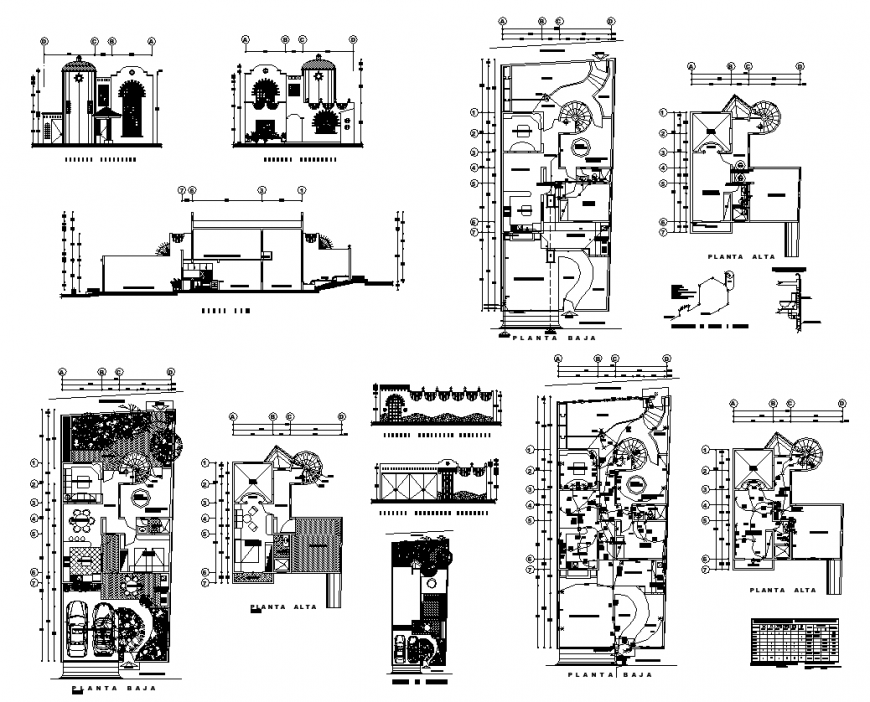 One family housing plan detail 2d view layout file in dwg format