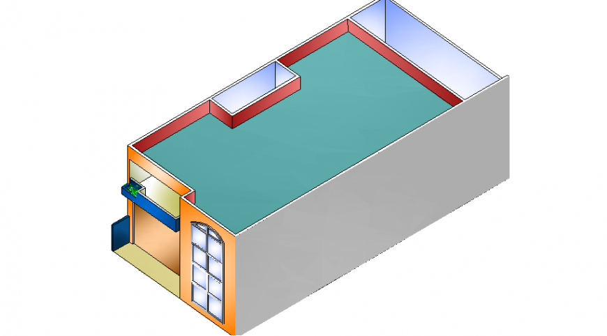 One family one bedroom house 3d design details dwg file