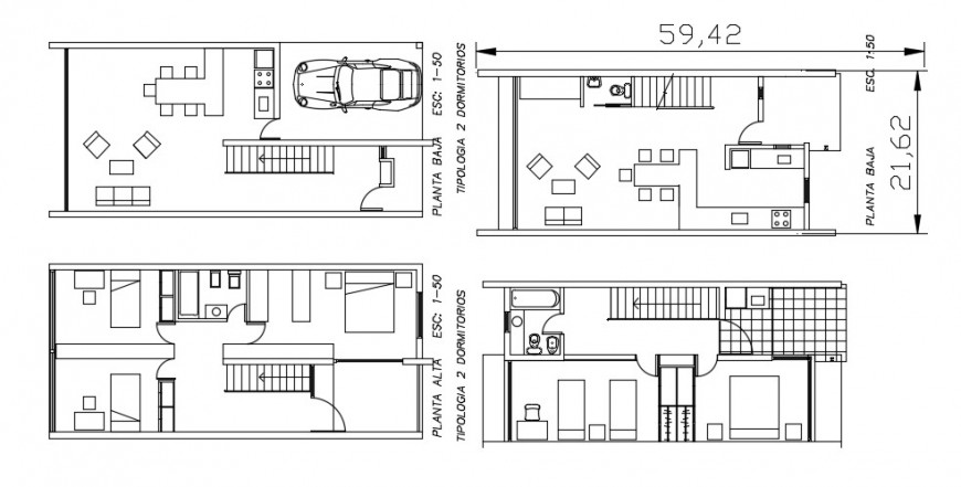 One family residential bungalow floor plan distribution drawing detail dwg file